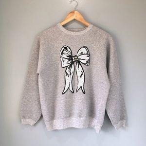 Hand Sewn Sequin & Pearl Bow Appliqué Sweatshirt